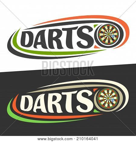 Vector logo for Darts game, arrow in bullseye on board and handwritten word - darts on black, curved lines around original typography for text - darts on white background, sports drawn decoration.