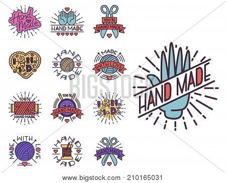Handmade needlework badges, labels and logo sewing fashion tailoring tailor handicraft elements vector illustration. Workshop emblem vintage hobby.