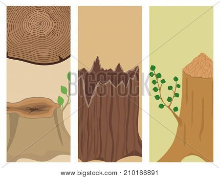 Stacked wood pine timber banner for construction building cut lumber stump wood materials vector set. Natural forest stack pile rough bark pattern abstract card construction.