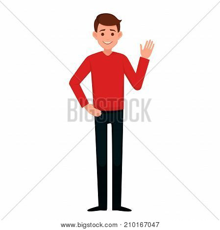 young man raised his hand with a welcoming gesture.vector illustration isolated on white background