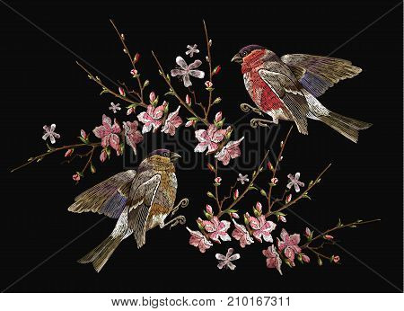 Embroidery birds and blossoming cherry vector. Classical embroidery bullfinch and titmouse on branch blossoming sakura. Spring fashion art template for design of clothes t-shirt design