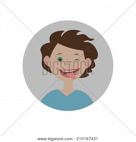 Eyewink with tongue emoticon. Silly expression icon. Isolated vector illustration