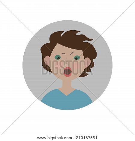 Indignant emoticon. Scandalized expression icon. Isolated vector illustration.