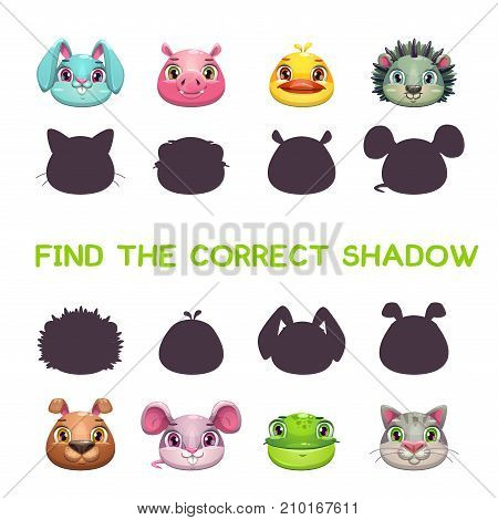 Find the correct shadow. Game template for children.