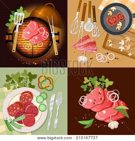 Barbecue top view set bbq grill party grilled meat vector illustration. Cooking food set fresh vegetables ingredients barbecue grilled meat