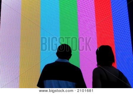 Smpte Color Bars And Two Silhouettes
