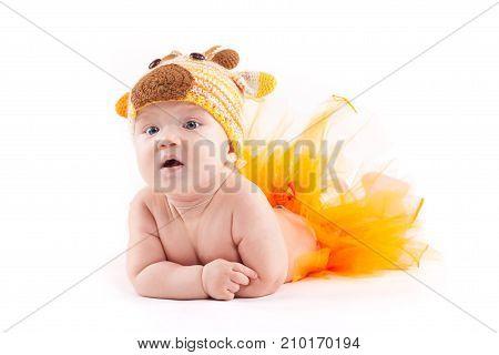 Beauty Little Boy In Orange Skirt And Deer Costume