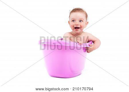 Cute Pretty Baby Boy Take Bath In Tub