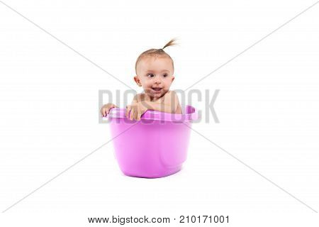 Cute Attractive Baby Girl Take Bath In Tub