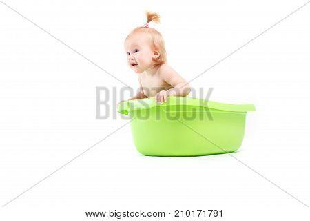 Pretty Cute Baby Girl Take Bath In Green Tub