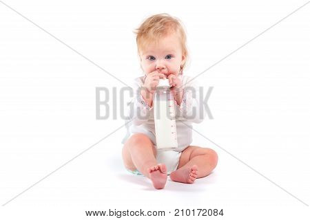 Cute Happy Little Girl In White Shirt With Milk