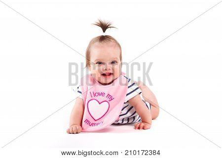 Cute Cheerful Little Girl In Pink  Bib
