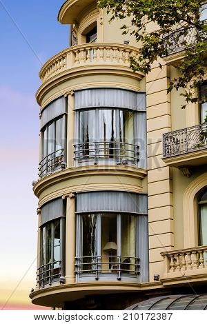 Glass Round Bay Windows on Stone Condo Unit