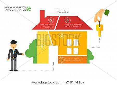 House metaphor diagram template. Option graph, part chart, layout. Creative concept for infographics, presentation, project, report. Can be used for topics like realty, mortgage, housing.