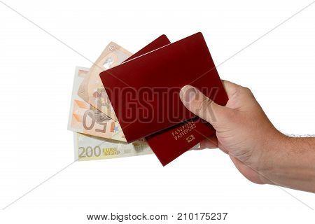 Money Passport travel plan concept isolate on white