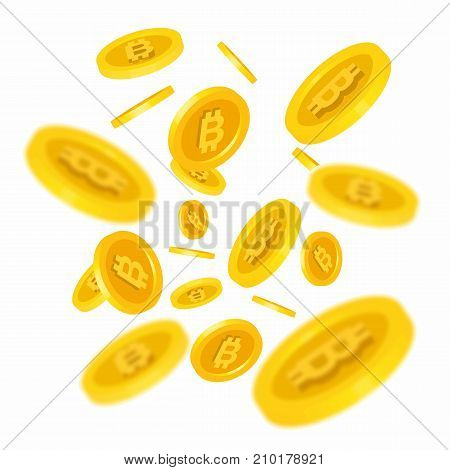 Illustration of flying gold bitcoins. Cryptography, currency, business. Financial concept. Design element for banners, posters, leaflets and brochures.