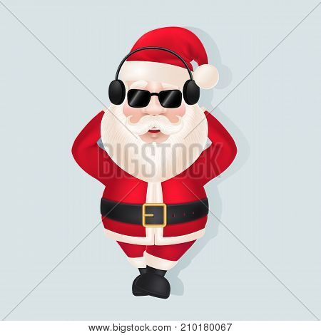 Illustration of Santa Claus in headphones and sunglasses. Christmas, New Year, party. Celebration concept. Christmas design element for greeting cards, banners, posters, leaflets and brochures.