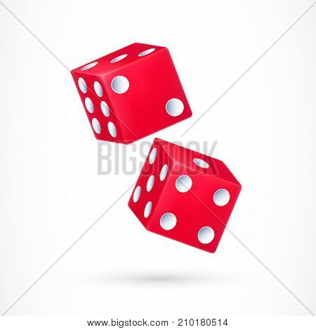Illustration of two red dice with white dots. Casino, gambling, fortune. Playing concept. Design element for banners, posters, leaflets and brochures.