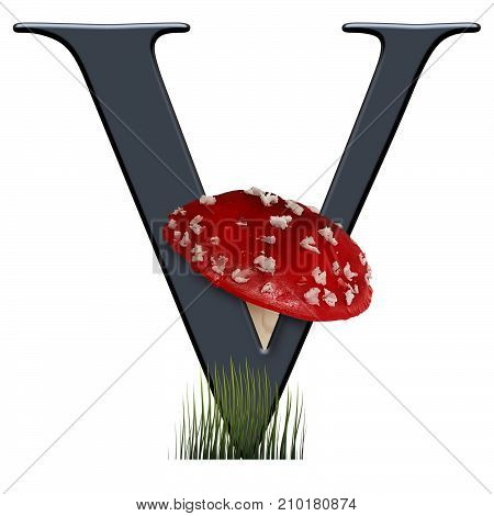 3D render of alphabet capital letter V embellished with red toad