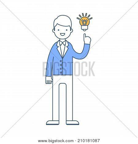 A businessman have got an idea vector illustration, outline style