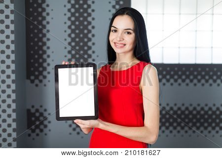 Attractive Businesslady In Red Dress Show Empty Tablet