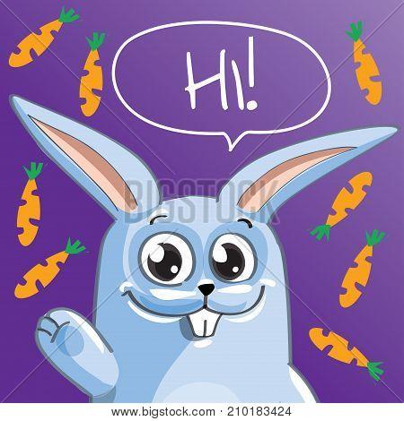 Vector illustration of cute cartoon hapy fun rabbit. Greeting card, postcard. Hi