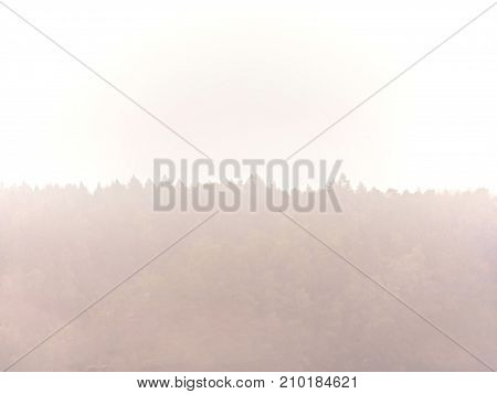 Cold And Damp Morning In Autumn Nature.  Outlines Of Forest Hills Hidden In Thick Mist. Unclear View