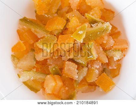 Cutted candied zest. Photo can be used as a whole background.