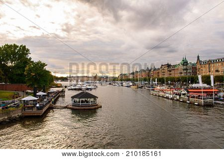 STOCKHOLM SWEDEN - SEP 13 2016: Beautiful view of Stockholm Sweden. Stockholm is the most populous city in Scandinavia