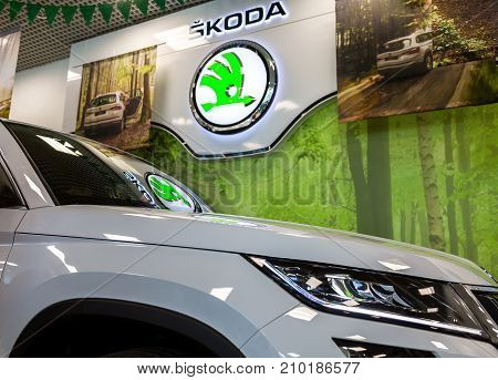 Samara Russia - June 3 2017: The dealership sign of Skoda. Skoda Auto is an automobile manufacturer based in the Czech Republic