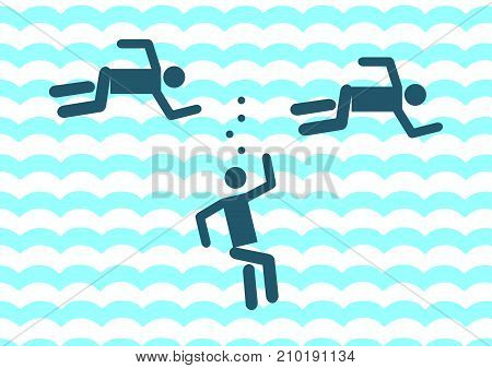 Drowning man icon. illustration isolated sign symbol. Vector illustration of pictogram of the pool