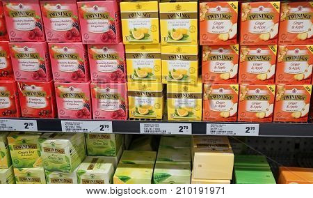Sydney Australia - October 17 2017: Variety of fruity Twinings Tea 20g packs (Berries Ginger & Apple Lemon) on display in grocery store. Twinings brand is owned by Associated British Foods.