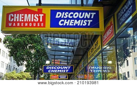 Sydney Australia - October 17 2017: Chemist Warehouse sign above the entrance to the drug store on Oxford Street. Chemist Warehouse was founded in 1973 is a large discount chemist chain with stores throughout Australia.