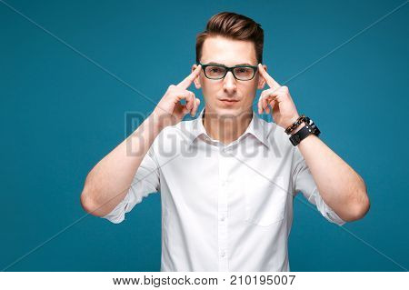Attractive Mature Businessman In Costly Watch, Black Glasses And White Shirt