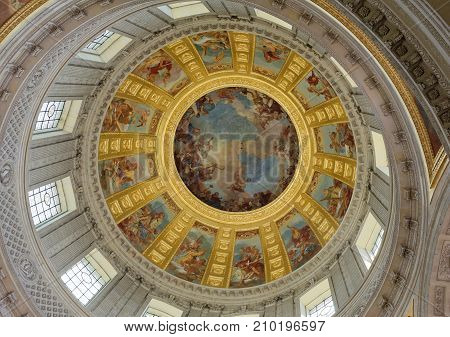 Paris; France- May 02; 2017: Internal painting of the Cathedral of St. Louis of the Invalides.Architect Jules Ardouin-Mansart