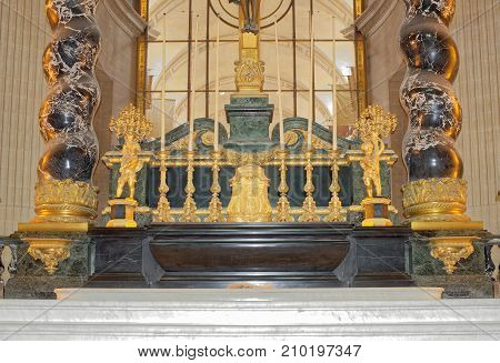 Paris; France- May 02; 2017: The interior of the St. Louis Cathedral Invalides.Altar of the Cathedral. Architect Jules Ardouin-Mansart