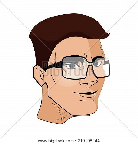 The man face in a glasses vector illustration.