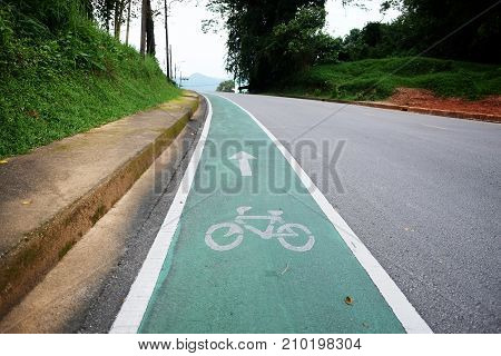 Bicycle path. Bicycle symbol on the street