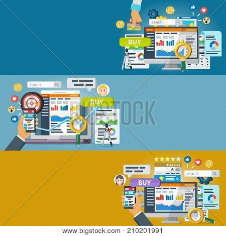 Web promotion and analytics of information. Set of banners in a flat style. Internet commerce, social networks, marketing and research. Statistics, audit and analysis. Raster image.