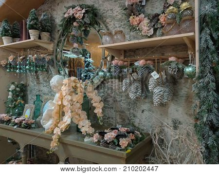 TERNI, ITALY - OCTOBER 22, 2017: Interior of Christmas shop with many decorations