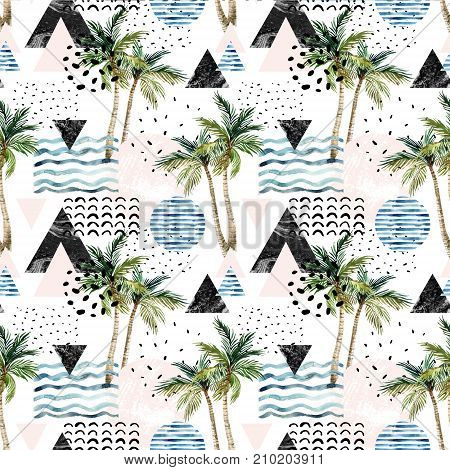 Abstract summer background. Art illustration with palm tree doodle marble grunge textures geometric shapes in 80s 90s minimal style. Geometric design. Hand painted beach seamless pattern
