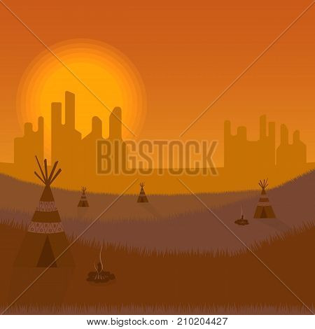 Indian reservation with sunset on background. Fields with indian wigwam.
