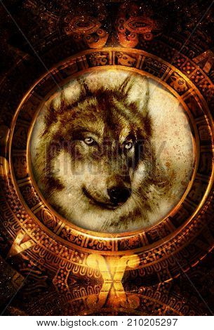 Ancient Mayan Calendar and wolf head, abstract color Background, computer collage