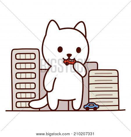 Giant monster cat destroying city Japanese anime genre. Cute and funny cartoon vector illustration.