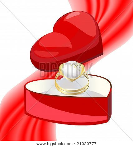 golden ring-pearl in the box-heart