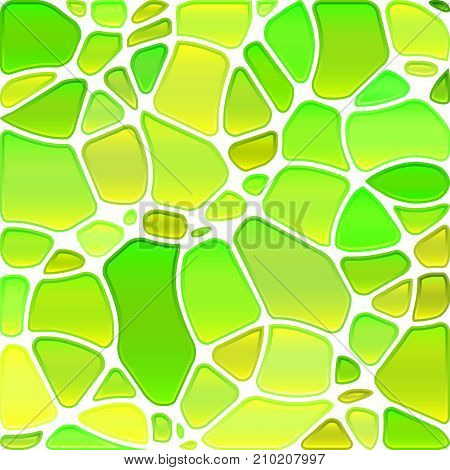 abstract vector stained-glass mosaic background - green and yellow circles