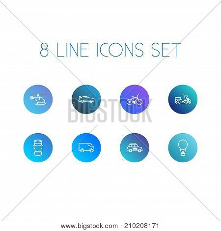 Collection Of Moped, Helicopter, Coupe And Other Elements.  Set Of 8 Shipping Outline Icons Set.