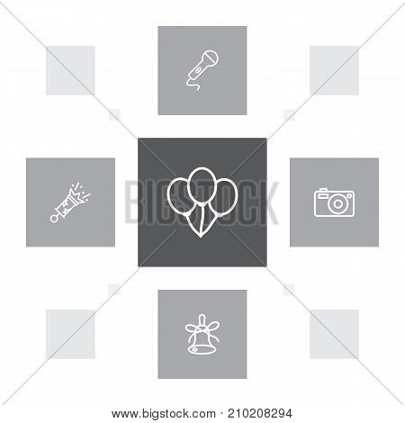 Collection Of Balloon, Firecrackers, Microphone And Other Elements.  Set Of 5 Cocktail Outline Icons Set.