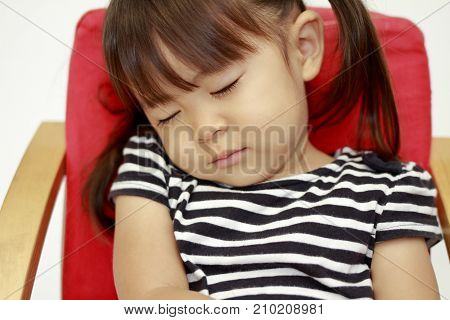 Japanese Girl Sleeping On Chair (2 Years Old)