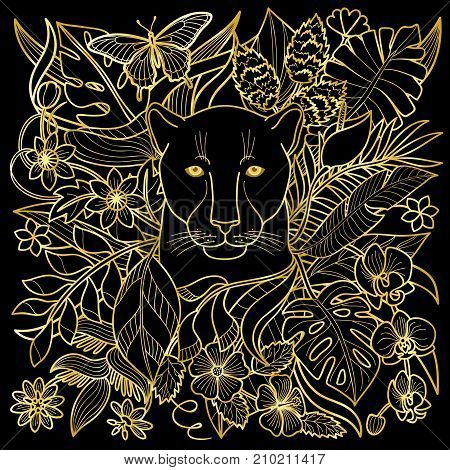 Jungle pattern with panther, flowers and leaves. Outline golden textile print, exotic luxury squared composition.